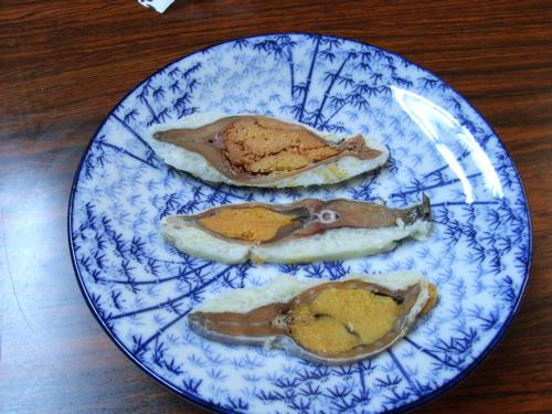 <三種類の鮒寿司のスライス>