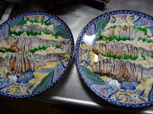 <鮒寿司のスライス>