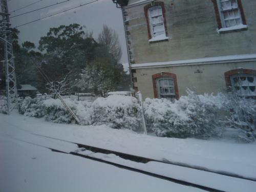 <長浜駅辺りではレールより上まで積雪があります>
