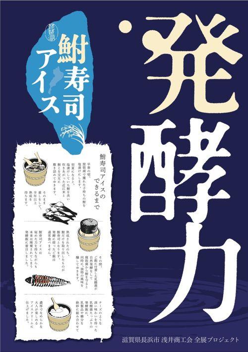 <鮒寿司アイスの紹介用に作成したパネルのデザイン>