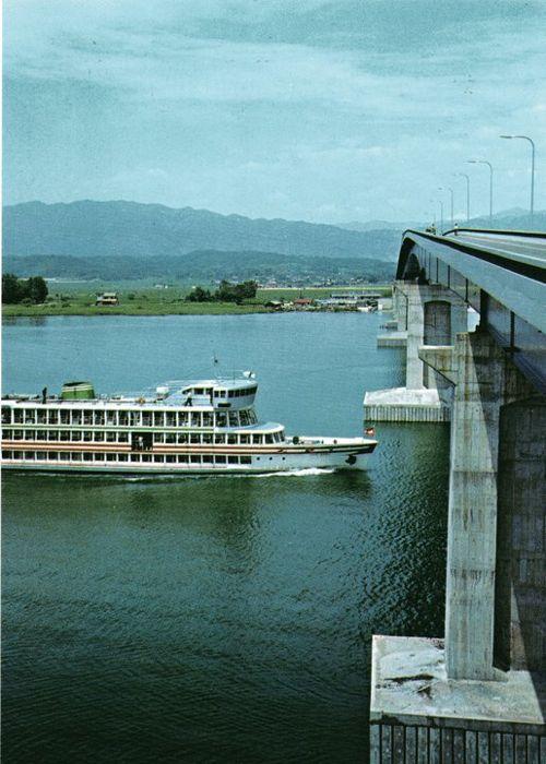 <昭和50年代の絵はがき、琵琶湖大橋とはり丸>