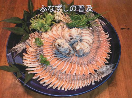 <頂いた資料より 冷凍しない鮒寿司をサーモンスライサーでスライス>